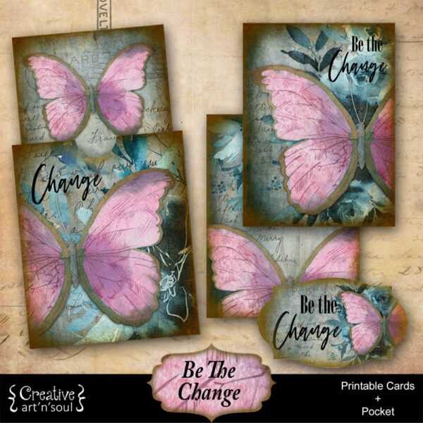 Be The Change Printable Journal Cards and Pocket