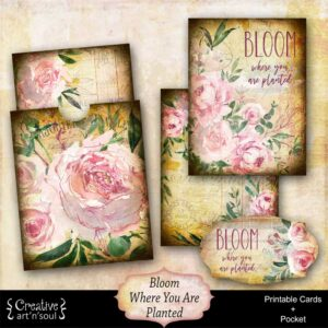 Bloom Where You Are Planted Printable Journal Cards and Pocket