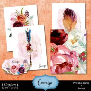 Courage Printable Journal Cards and Pocket