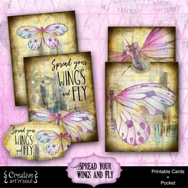 Spread Your Wings & Fly Printable Journal Cards and Pocket