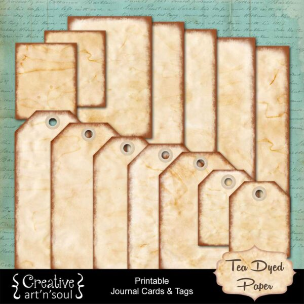 Tea Dyed Paper Printable Journal Cards and Tags