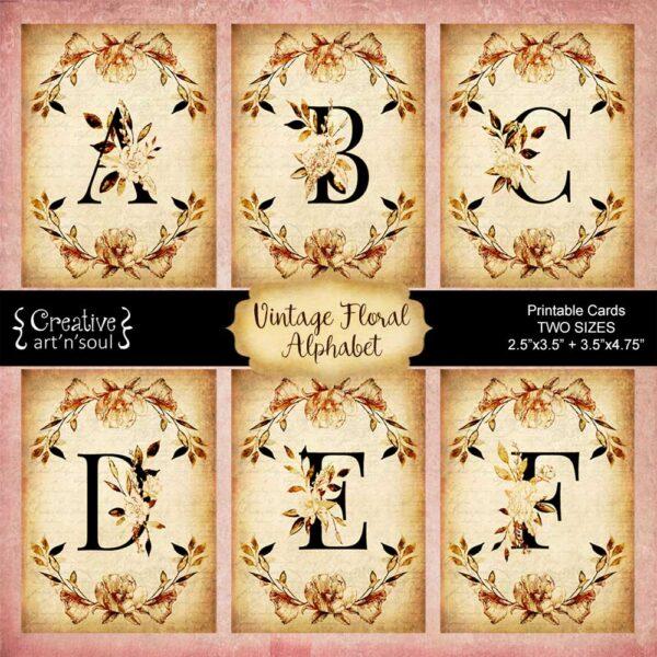 Vintage Floral Alphabet Printable Cards