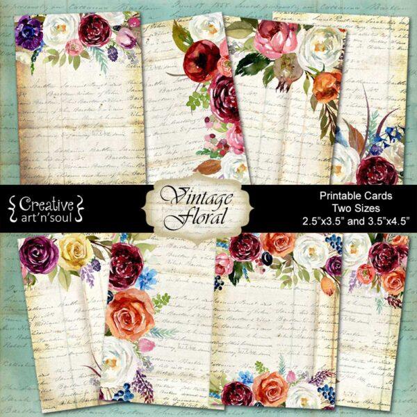 Vintage Floral Printable Cards