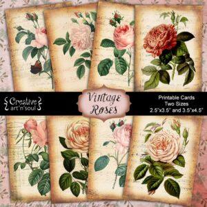 Vintage Roses Printable Cards