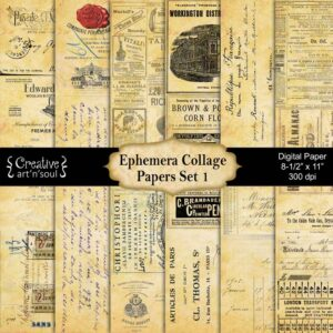 Ephemera Collage Printable Paper