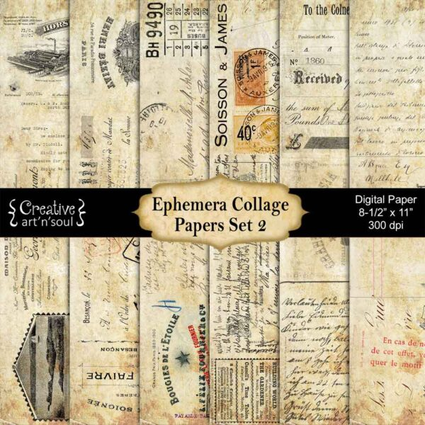 Ephemera Collage Printable Paper