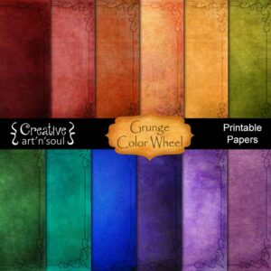 Grunge Color Wheel Printable Paper
