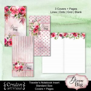 Travelers Notebook Printable Inserts, Dream Big