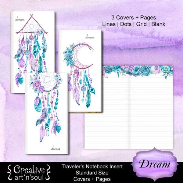 Travelers Notebook Printable Inserts, Dream
