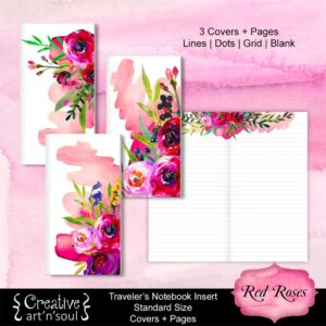 Travelers Notebook Printable Inserts, Red Roses