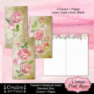 Travelers Notebook Printable Inserts, Vintage Pink Roses