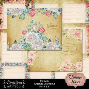 Vintage Roses Printable Gratitude Journal