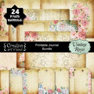 Vintage Roses Printable Junk Journal Bundle