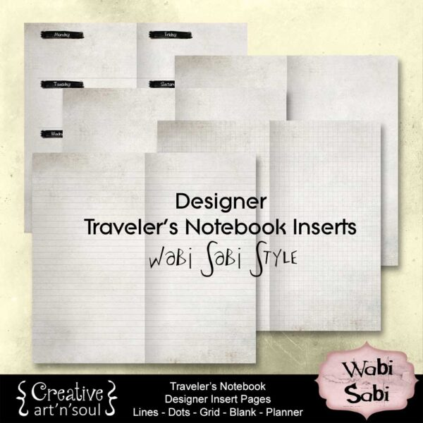 Wabi Sabi Traveler's Notebook Insert Pages Set