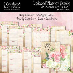Printable Planner Bundle, A5 Planner, Monday Start, Choose Joy