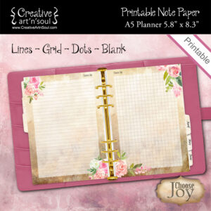 A5 Planner Printable Note Paper, Choose Joy