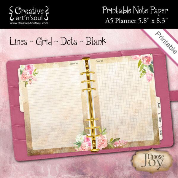 A5 Planner Printable Note Paper, Choose Joy