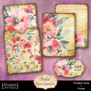 Faded Rose Garden Printable Journal Cards and Pocket