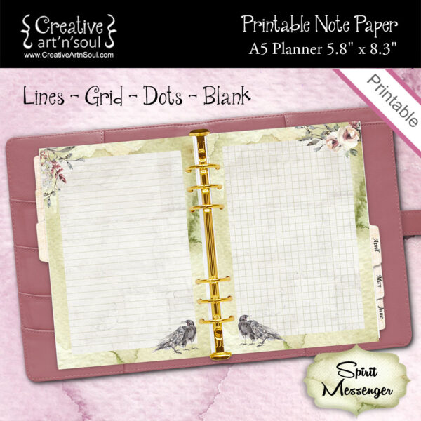 A5 Planner Printable Note Paper, Spirit Messenger