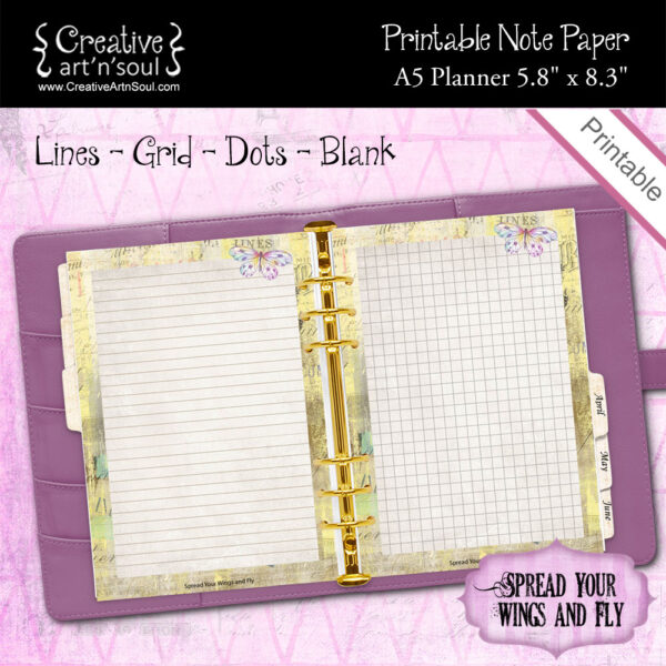 A5 Planner Printable Note Paper, Spread Your Wings & Fly