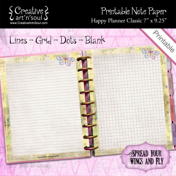 Happy Planner Classic Printable Note Paper, Spread Your Wings & Fly