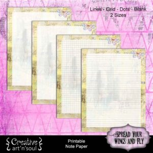Spread Your Wings & Fly Printable Note Paper