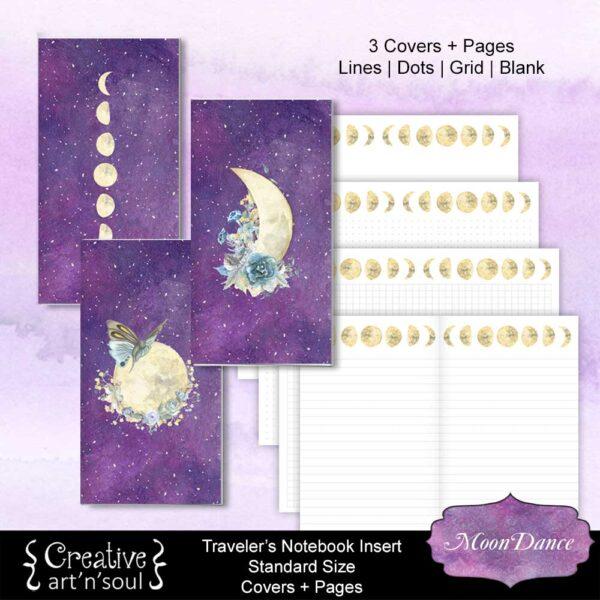 MoonDance Printable Travelers Notebook Inserts