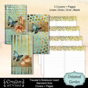 Untamed Garden Printable Travelers Notebook Inserts