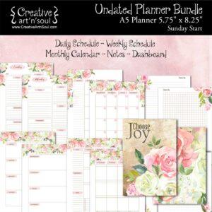 Printable Planner Bundle, A5 Planner, Sunday Start, Choose Joy