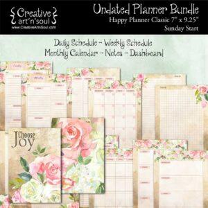 Printable Planner Bundle, Happy Planner Classic, Sunday Start, Choose Joy