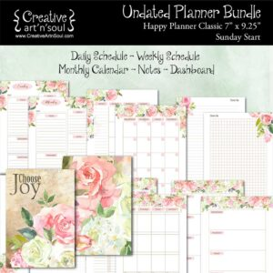 Printable Planner Bundle, Happy Planner Classic, Sunday Start, Choose Joy
