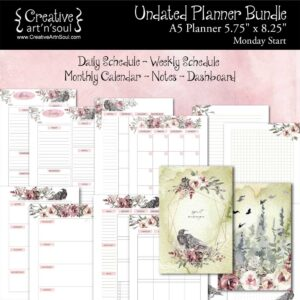 Printable Planner Bundle, A5 Planner, Monday Start, Spirit Messenger