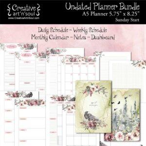 Printable Planner Bundle, A5 Planner, Sunday Start, Spirit Messenger