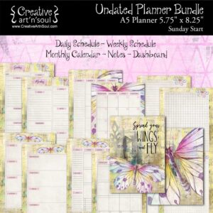 Printable Planner Bundle, A5 Planner, Sunday Start, Spread Your Wings & Fly