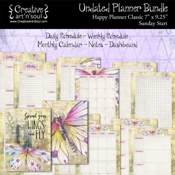 Printable Planner Bundle, Happy Planner Classic, Spread Your Wings & Fly