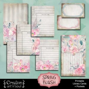 Printable Junk Journal Library Cards and Pockets, Spring Blush
