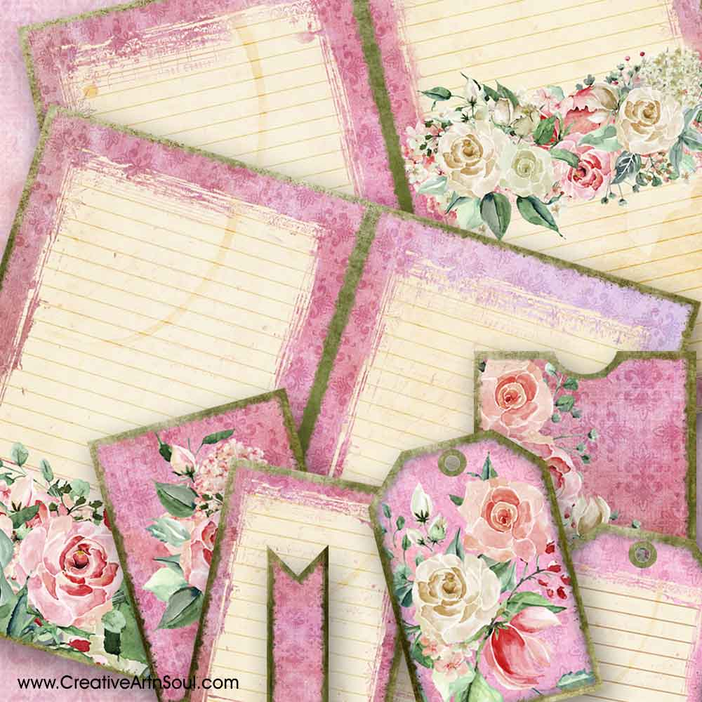 Pretty in Pink Journal Pages and Elements